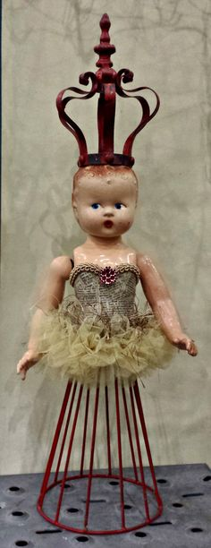 altered cage doll - red
