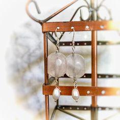 Handmade rose quartz & freshwater pearl earrings made with sterling silver hooks Pearl Gemstone, Gemstone Earrings, Pearl Earrings, Rose Quartz, Fresh Water, Wine Rack, Hooks, Handmade Items, Gemstones