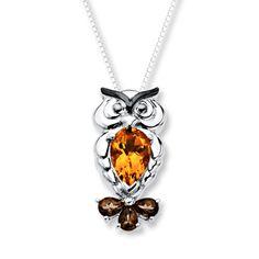 Citrine Owl Necklace Quartz Accents Sterling Silver.  $79.99. Jarod.  Malori.