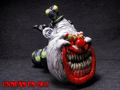 Killjoy The Evil Clown Converted Hand Blown Glass Pipe by ZoomBiez, $95.00