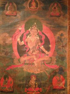 Eight Manifestations of Padmasambhava; Guru Nyima Ozer Sankrit: Guru Suryabhasa or Sūryaraśmi, the Sunray Yogi, who illuminates the darkness of the mind through the insight of Dzogchen. He is shown as a naked yogi dressed only in a loin-cloth and holding a Khatvanga which points towards the sun Towards The Sun, Thangka Painting, Buddhist Art, Tantra, Our Lady, Darkness, Insight, Buddha, Naked