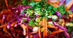Red Cabbage Slaw with Tangy Carrot Ginger Dressing