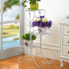 Wrought iron flower multilayer floor balcony bracketplant jardiniere indoor stair of sitting room other showy