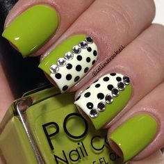pea green with black  white polka dots nail art by selinarockell