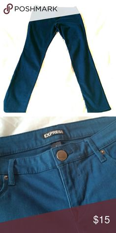 Deep Teal Express Skinny jeans Perfect fall colored stretch skinny jeans!  Deep teal blue. Very light use.  Great condition and soft feel material!  Fast shipping!  97% cotton/ 3% spandex. Express Jeans Skinny