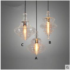 ... Shelf Lighting Suppliers: Single Head Restaurant Chandelier Light Bar  Cafe Creative Personality Nordic American Loft Industrial Glass Hanging  Lights