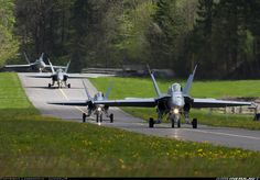 Interesting taxiway for Swiss Air Force McDonnell-Douglas Hornets (note the sheep pens on one side) Military Jets, Military Weapons, Military Aircraft, Air Force Aircraft, Fighter Aircraft, Air Fighter, Fighter Jets, Swiss Air, Stealth Bomber