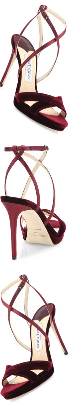 Sandália Lola 100 - Vinho Burgundy - Jimmy Choo - Veludo e Cetim - Tiras Cruzadas Pretty Shoes, Beautiful Shoes, Cute Shoes, Me Too Shoes, Holiday Shoes, Pumps, Stilettos, Jimmy Choo Shoes, Crazy Shoes