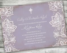 Shabby Chic Baptism Invitation - Lavender Vintage Paper Design with White Lace - Printable Digital Download Purple Communion or Confirmation