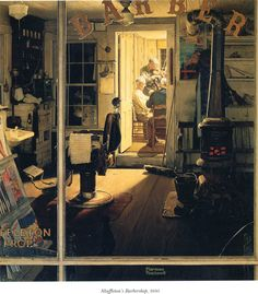 """Shuffleton's Barbershop"" by Norman Rockwell, 1950 ・ Style: Regionalism ・ Genre: interior"