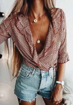 wrap shirt. denim shorts. #summerstyle #style