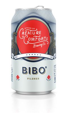 Creature Comforts Brewing Company Bibo Pilsner — The Dieline - Branding & Packaging Coffee Packaging, Bottle Packaging, Brand Packaging, Chocolate Packaging, Design Packaging, Food Packaging, Branding Design, Craft Beer Brands, Beers Of The World