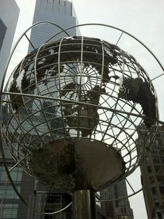 The globe in front of the Trump Hotel, Columbus Circle (formerly the Gulf & Western Building of 1966)
