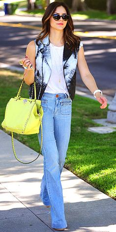 bellbottoms and a yellow purse...what could be better?