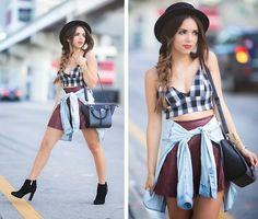 Daniela Ramirez - Girl Is Gun Plaid Bralette, Guess? Shoes, Danielle Nicole Bag…