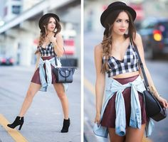 Daniela Ramirez - Girl Is Gun Plaid Bralette, Guess? Shoes, Danielle Nicole Bag…