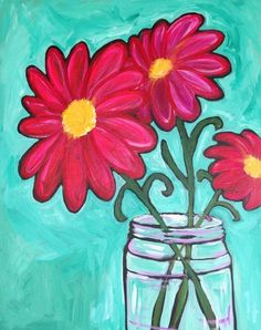 Daisy Painting, Summer Painting, Painting & Drawing, Jar Painting, Wine And Canvas, Oil Painting Pictures, Colorful Paintings, Acrylic Paintings, Flower Paintings