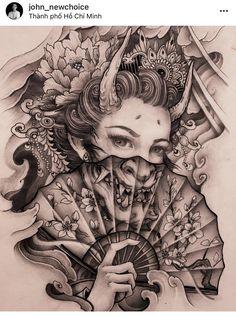 Japanese Geisha Tattoo, Japanese Dragon Tattoos, Japanese Tattoo Designs, Leg Sleeve Tattoo, Best Sleeve Tattoos, Tattoo Sleeve Designs, Geisha Tattoo Design, Japan Tattoo Design, Gangsta Tattoos
