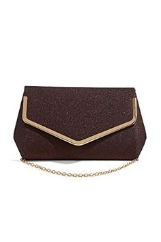 New Trending Purses: Women Envelope Clutch Purse Glitter Evening Bag Shimmer Handbag With Chain Strap (chocolate brown, gold). Women Envelope Clutch Purse Glitter Evening Bag Shimmer Handbag With Chain Strap (chocolate brown, gold)  Special Offer: $15.20  433 Reviews Even the most stunning evening gown needs a perfect bag to complete the image. And this glitter envelope clutch purse is just the thing for...