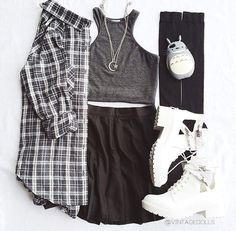 Gray Top and Black Skirt with Flannel and White Shoes