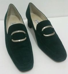 Womens Proxy Green Silver Suede Shoes Heels Pumps 9 N Made In SPAIN 35380 #Proxy #PumpsClassics