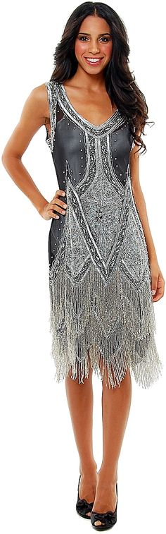Black & Silver Embroidered Reproduction 1920's Flapper Dress