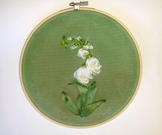 Wall hanging Hoop art Textile picture Embroidered ribbon flowers