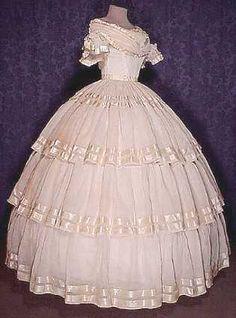 Original mid 19th century cotton batiste ballgown.