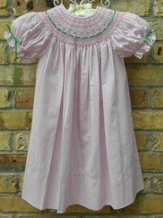 Girls Smocked Dress, Perfect Spring and Summer Dress with Ribbons and Seed Pearls... FREE SHIPPING