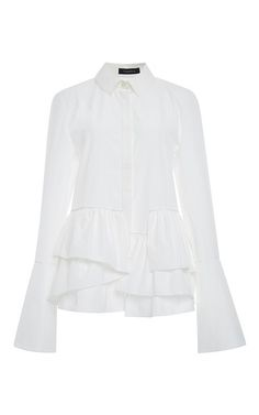 add ruffle and bell sleeve to a white shirt White Cotton Layered Peplum Button Down Blouse by THAKOON Now Available on Moda Operandi White Peplum Tops, White Cotton Blouse, Cotton Blouses, White Tops, White Button Down Shirt, White Shirts, Business Outfit, Bell Sleeve Blouse, Layered Tops