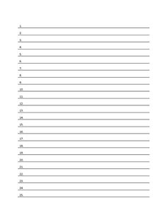 Numbered Lined Notebook Paper  Blank Sign Up Sheets