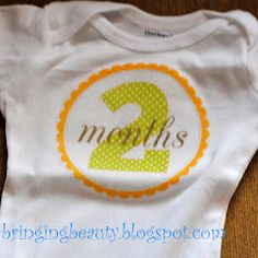 Darling DIY onesies for month by month pictures. Love it! Super cute baby shower gift too.
