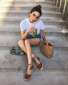 Pin for Later: 42 Easy Outfit Ideas Using a White Tee Paired With Shorts and Lace-Up Espadrilles