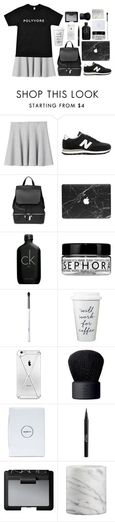 """""""m o n o c h r o m a t i c"""" by liv-vic on Polyvore featuring Monki, New Balance, COSTUME NATIONAL, Calvin Klein, Sephora Collection, Obsessive Compulsive Cosmetics, NARS Cosmetics, Stila, Crate and Barrel and women's clothing"""