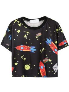 Shop Rakete Sterne Druck T-Shirt in Schwarz from choies.com .Free shipping Worldwide.