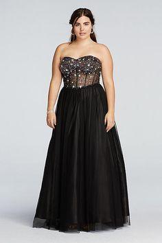 Crystal Beaded Illusion Corset Prom Dress 55039EW