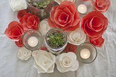 Succulent centerpieces / indoor reception? :  wedding indoor reception paper flowers succulents Succulents And Paper Flowers