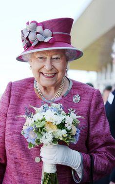 Her Majesty Queen Elizabeth II at dedication of Queen Elizabeth II Canal connecting to Scottish Kelpies sculpture, July 2017.