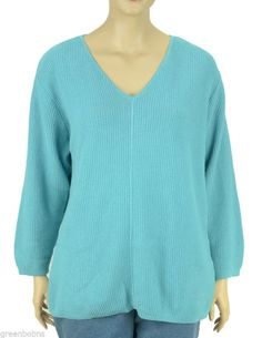 b95555fe6e Silhouettes Woman Ocean Blue V-Neck Pullover Waffle Weave Sweater Size 1X   1Baa  4Sale  FallFashion