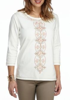 Alfred Dunner Ivory Petite Just Peachy Center Embroidery Top