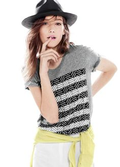 JUN '14 Style Guide: J.Crew Panama hat and drapey surf stripe tee.