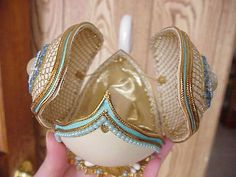 Real EGG Hand Decorated Rhea Jeweled Swan Trinket BOX Collectible Mothers DAY | eBay