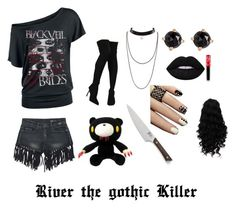 """""""River the Gothic Killer"""" by emma0502 ❤ liked on Polyvore featuring Sans Souci, Liliana, Irene Neuwirth, Lime Crime and Crate and Barrel"""