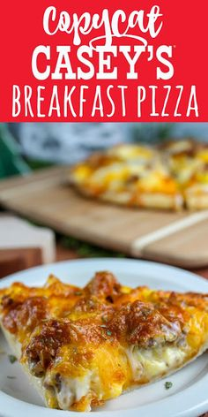 Casey's Breakfast Pizza is an Iowa staple. Every time I go home - I make sure to stop at least once for a slice or two! I couldn't wait to make my own copycat version and serve it to friends and family! It's a family favorite! Casey's Breakfast Pizza Recipe, Caseys Breakfast Pizza, Bacon Breakfast, Breakfast Items, Breakfast Dishes, Best Breakfast, Breakfast Casserole, Breakfast Recipes, Mexican Breakfast