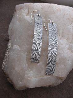 Long silver dangly earrings Make Waves by stellassilver on Etsy, $48.00