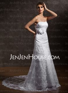Wedding Dresses - $145.89 - A-Line/Princess Sweetheart Chapel Train Satin Tulle Wedding Dresses With Lace Beadwork (002011635) http://jenjenhouse.com/A-line-Princess-Sweetheart-Chapel-Train-Satin-Tulle-Wedding-Dresses-With-Lace-Beadwork-002011635-g11635