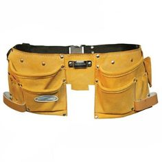 This 11 Pocket Double Pouch Tool Belt is manufactured by Silverline. Suede leather double tool pouch with 300 x pouches. 11 pockets, 2 hammer loops, tape holder, pliers pouch and webbing belt.