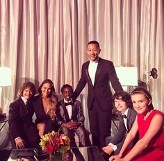 John Legend and Chrissy Teigen with the cast of Stranger Things, 2017 SAG Awards.