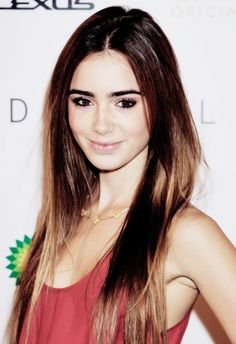 Lily Collins. Eyebrows. Hair.