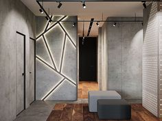 Luxury Apartment With An Industrial Vibe And A Cool Hallway - luxueuse Wooden Accent Wall, Wood Slat Wall, Ceiling Design, Wall Design, Modern Home Office Desk, Estilo Interior, Hallway Designs, Industrial Interior Design, Home Room Design
